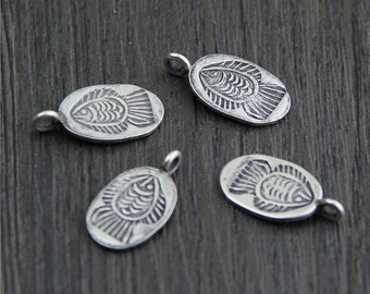 2 Karen hill tribe Sterling Silver Fish charm, Sterling silver fish pendant, Silver fish tags