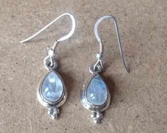 Elegant Danish Sterling Silver & Moon Stone Dangle Earrings