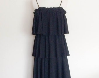1970s Yound Dimensions Black Midi Layered Dress Vintage
