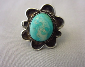 """Antique Navajo Native American Indian Silver and Turquoise Ring,, Size 6, 1-3/4"""" Top"""