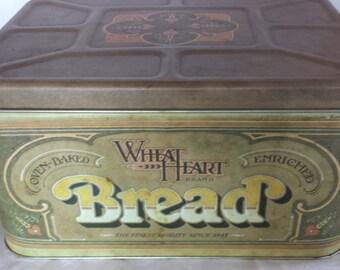 Vintage Metal Bread Box, Wheat Heart Bread Storage, Vintage Kitchen Tin