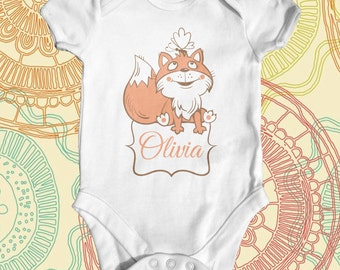Fox Custom Name baby bodysuit | baby shower gift | cute baby clothes | funny baby bodysuit | personalised baby bodysuit | newborn baby | fox