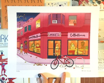 Evening Coffee Shop Bliss - Print
