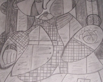 Picasso style pencil art 18 x 24 My nephew  prints only