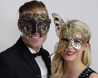 Couple Masquerade Ball Butterfly Mask Set Metallic Black Gold Venetian Style Mask