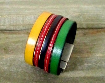 Bracelet leather cuff yellow green red and black, magnetic clasp