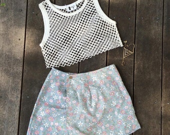 mesh top and floral skort - size 8