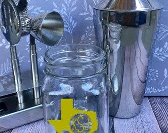 Monogrammed State Mason Jar - Personalized Mason Jar