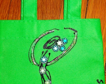 GREEN mini canvas tote bag with hand-painted flamenco dancer design