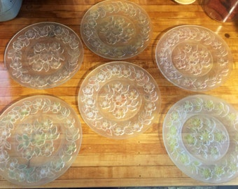Set of Vintage Frosted Glass Dinner/Salad Plates (6)