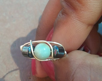 Amazonite double hematite ring, wire wrap ring, multi stone ring, healing ring, wirewrap ring , gifts for her, birthday gift