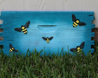 Hand Painted / Bee Theme / Recycled Wood from Beehives / Reclaimed Wood