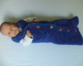 Baby sleeping bag of cocoon knitted Merino Wool 60 cm sleeping bag wool
