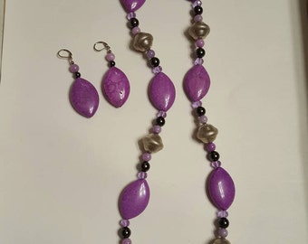 "HandCrafted Pink Agate 38""Necklace and Matching Earrings Set"