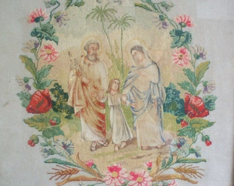 Antique French Embroidery Religious