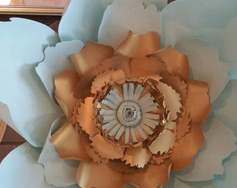 Giant Paperflower - Mint and Gold