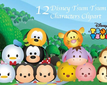 TSUM TSUM. CLIPART. 12 High Resolution Digital Clipart. Disney Tsum Tsum Birthday Party. Baby shower. Party Supplies.