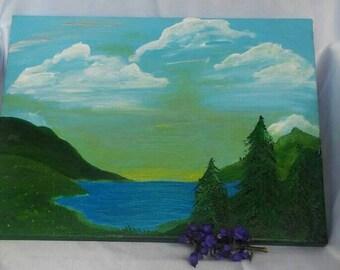 Green and Sunshine acrylic painting