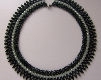 Dark and light green beaded necklace, Hungarian folk inspiration