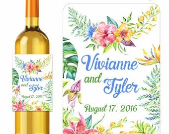 Custom Wedding Wine Labels Personalized Summer Tropics Watercolor Flowers and Bouquets Designer Labels Waterproof Vinyl 3.5 x 5 inch