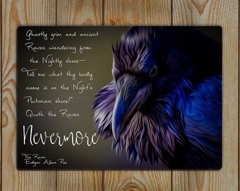 The Raven, Edgar Allan Poe Poem Sign, Aluminium Raven Sign, The Raven Poem Nevermore - Bookish Quote sign