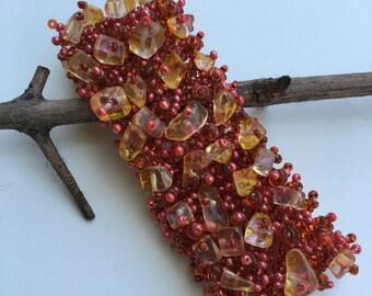 Handmade Orange Beaded Bracelet.