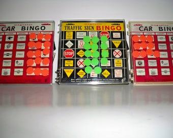 Vintage Pocket/Travel Games 1960-Car Bingo, Traffic Bingo, Magnetic Bingo Game, Vintage Bingo Games