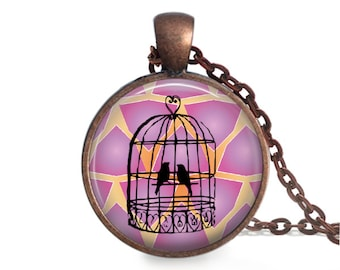 Birdcage Handmade Glass Pendant Necklace 25mm