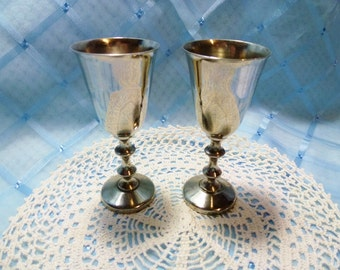 Vintage Silver-plated Small Sherry Goblets/Glasses - Set of 2