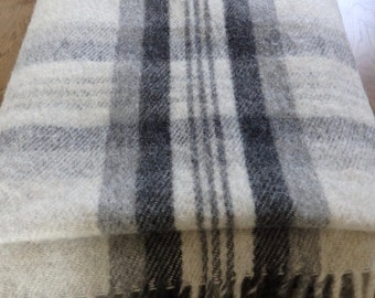 Vintage Swedish Handwoven Wool Blanket Throw Grey Plaid