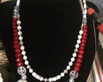Quirky Elegant Red Grey and Silver Necklace