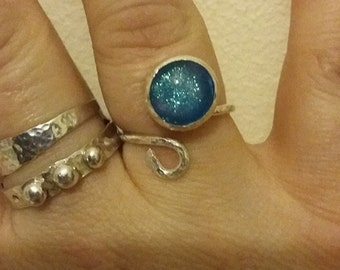 Handmade sterling silver and blue fused glass adjustable ring