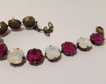 Fuchsia and White Opal Swarovski Bracelet