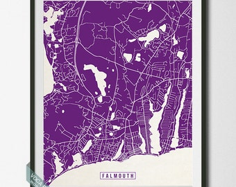 Falmouth Print, Massachusetts Poster, Falmouth Map, Falmouth Poster, Massachusetts Print, Massachusetts Map, Street Map, Dorm Decor