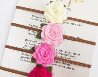 Set of 4 Flower Headband   Baby Kids Hair Accessories Headband   Ecru, Pink, Hot Pink & Peony Flower Headband