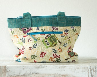 Colourful Patchwork Owlbag Turquoise