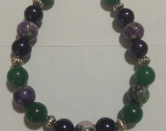 Purple and Green Aventurine Floral Beaded Bracelet