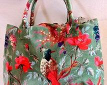 Bird of Paradise Printed Women Handbag Velvet Fabric Carry Bag Bollywood Designer Bag Bohemian Gypsy Tote Bag Bird Floral Shoulder Bag