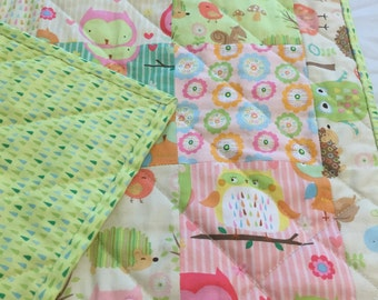 Handmade Baby Quilt ,Multicolors of green,blue,orange and pink,WoodlandAnimals ,Birds,Trees,Hedgehogs
