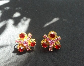 Vintage Gold Tone Pink and Red Rhinestone Screw back Earrings