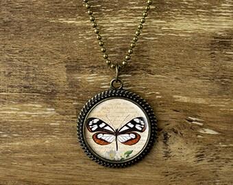 Butterfly necklace, butterfly pendant necklace, vintage style butterfly jewelry