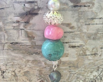 Turquoise & Pink Keychain