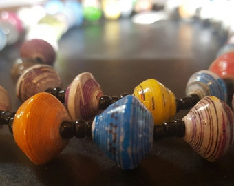 36 inch Long Multi-Colored Paper Bead Necklace