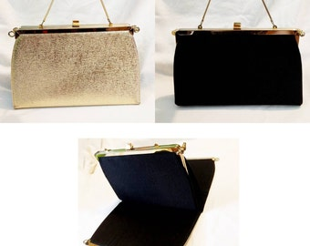 L & M Bags By Edwards Reversible Gold/Black Evening Bag