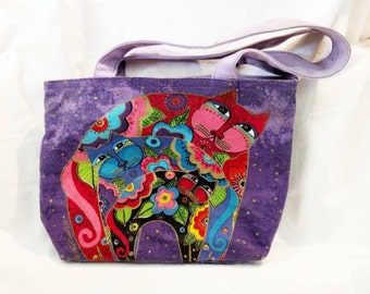 Laurel Burch Purple Three Cats Shoulder Bag