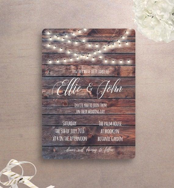 Rustic Wedding Invitation Printable, Country Wedding, Barn Wood Wedding