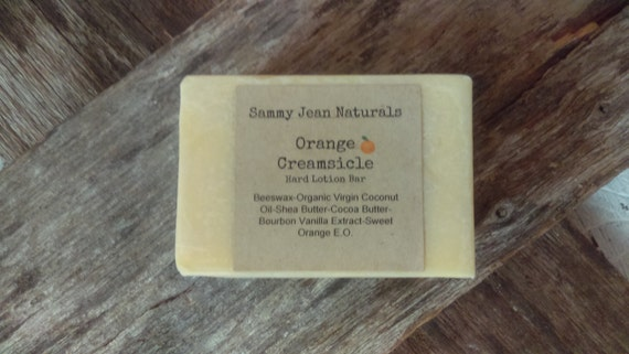 Hard Lotion Bar/Orange Creamsicle/Organic Virgin Coconut Oil/Shea Butter/Coco Butter/Beeswax/Sweet Orange E.O./Vanilla Bourbon Extract