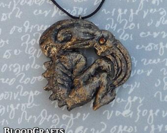 Handmade Bronze style Cthulhu Lovecraft Octopus pendant necklace Necronomicon