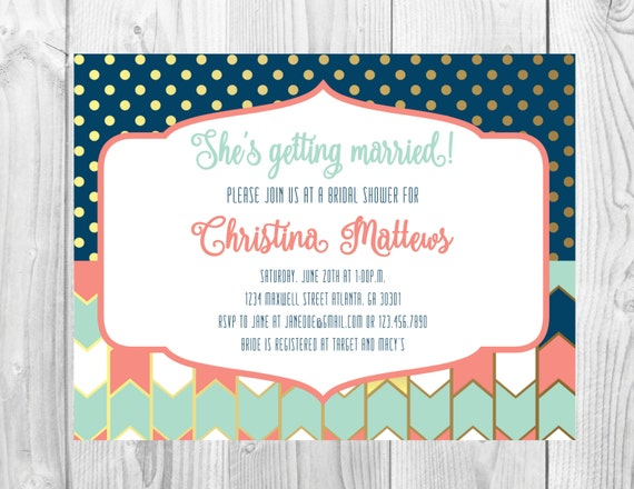 Bridal Shower Invitation << Wedding Shower Invitation >> Navy/Coral/Gold/Turquoise << Gold Dots Invite >> Custom Printable Digital File