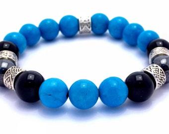 Turquoise Bead Bracelet Onyx Bead Bracelet Blue Beaded Hematite Beaded Bracelet Turquoise Stretch Bracelet Natural gemstone Bracelet 8mm 9mm